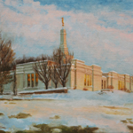 Temple Architecture Winter Scene Oil Painting
