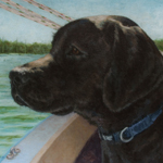 Black Labrador Retriever Dog Portrait Oil on Canvas Sailboat Lake Artwork