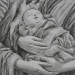 Fine Art Charcoal Nativity Scene Figure Drawing