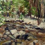 """Landscape Painting Winter Mountain Stream"""