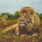 """Wildlife Art Lion Painting"""