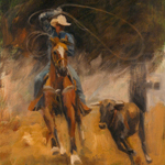 """Western Art Rodeo Image Horse Cowboy"""