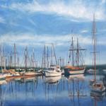 """""""Seascape Coastal Art Boats Image"""""""
