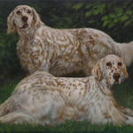 English Setters Oil Painting Pet Dog Portrait
