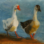 """Wildlife Art Geese Portrait Image"""
