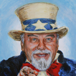 Patriotic American Acrylic Male Portrait Painting